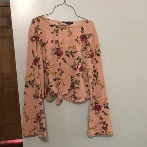 Cropped floral sweater knot front hippie sleeves